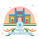Kreativer Indien-Unabhängigkeitstag-Design-Vektor Art Logo Stockbild