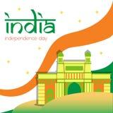 Kreativer Indien-Unabhängigkeitstag-Design-Vektor Art Logo Lizenzfreie Stockfotografie