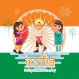 Kreativer Indien-Unabhängigkeitstag-Design-Vektor Art Logo Stockbilder