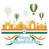 Kreativer Indien-Unabhängigkeitstag-Design-Vektor Art Logo Lizenzfreies Stockbild