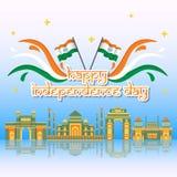 Kreativer Indien-Unabhängigkeitstag-Design-Vektor Art Logo Lizenzfreie Stockfotos