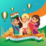 Kreativer Indien-Unabhängigkeitstag-Design-Vektor Art Logo Lizenzfreie Stockbilder