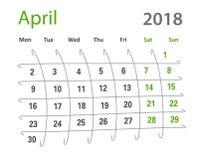 kreativer Kalender Aprils des lustigen ursprünglichen Gitters 2018 Stockfoto