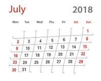 kreativer Kalender lustiges ursprüngliches Gitter 2018 Luly Stockbilder
