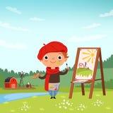 Kreativer Kinder Kleiner Künstler, der im Freien Bilder macht stock abbildung