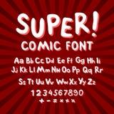 Kreativer komischer Guss Alphabet in der Art von Comics, Pop-Art Mehrschichtiges lustiges Rot u. Buchstaben und Zahlen der Schoko Lizenzfreies Stockbild