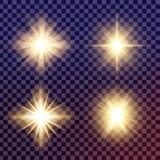 Kreativer Konzept Vektorsatz Lichteffektsterne des Glühens birst mit den lokalisierten Scheinen Stockfoto