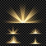 Kreativer Konzept Vektorsatz Lichteffektsterne des Glühens birst mit den Scheinen, die auf schwarzem Hintergrund lokalisiert werd Lizenzfreie Stockfotos