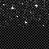 Kreativer Konzept Vektorsatz Lichteffektsterne des Glühens birst mit den Scheinen, die auf schwarzem Hintergrund lokalisiert werd Stockfoto