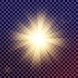 Kreativer Konzept Vektorsatz Lichteffektsterne des Glühens birst mit den Scheinen, die auf schwarzem Hintergrund lokalisiert werd Stockfotografie