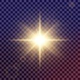 Kreativer Konzept Vektorsatz Lichteffektsterne des Glühens birst mit den Scheinen, die auf schwarzem Hintergrund lokalisiert werd Stockbilder
