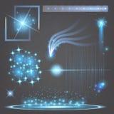 Kreativer Konzept Vektorsatz Lichteffektsterne des Glühens birst mit den Scheinen, die auf schwarzem Hintergrund lokalisiert werd Lizenzfreies Stockfoto
