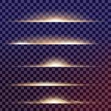 Kreativer Konzept Vektorsatz Lichteffektsterne des Glühens birst mit Schein Lizenzfreie Stockbilder
