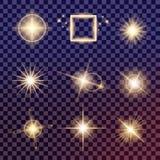 Kreativer Konzept Vektorsatz Lichteffektsterne des Glühens birst mit Scheinen Stockbilder