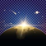 Kreativer Konzept Vektorsatz Lichteffektsterne des Glühens birst mit Scheinen Stockfoto