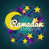 Kreativer Kranz mit Sternen und Mond für islamisches Festival Ramadan Kareem Stockfoto