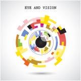 Kreativer Kreiszusammenfassungsvektorlogo-Designhintergrund Auge und Stockfoto