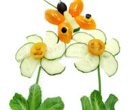 Kreativer lustiger Gemüsesnack mit Gurke Lizenzfreie Stockfotografie