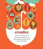 Kreativer Regenschirm - Idee und Konzept des Entwurfes stock abbildung