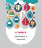 Kreativer Regenschirm - Idee und Konzept des Entwurfes vektor abbildung