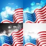 Kreativer Satz Design der amerikanischen Flagge vom 4. Juli Unabhängigkeit DA lizenzfreie abbildung