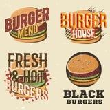 Kreativer Satz Logodesign mit Burger Auch im corel abgehobenen Betrag Lizenzfreie Abbildung