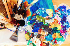 Kreativer Stimmungsprozeß des Künstlers Stockbilder