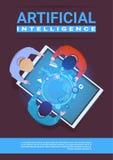 Kreativer Team Of Programmers Working Sit Schreibtisch-Digital-Tablet-am Spitzenwinkelsicht-künstliche Intelligenz-Konzept stock abbildung