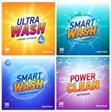 Kreativer Waschmittelkonzept-Verpackungsgestaltungs-Schablonensatz lizenzfreie abbildung