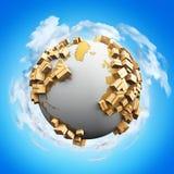 Kreatives abstraktes weltweites Verschiffen-, Wiederverwertungs- und Umweltschädigungsgeschäftsindustriekonzept: 3D übertragen Il stock abbildung