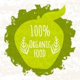 Kreatives buntes grünes Plakat, damit die Logos, die on-line-Shops und die Supermärkte das biologische Lebensmittel 100 verkaufen Lizenzfreies Stockfoto