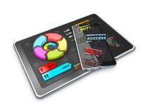 Kreatives buntes Kreisdiagramm der Illustration 3D auf Tablette, Geschäftskonzept Stockfoto