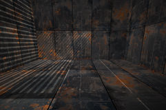 Kreatives 3D dunkler Grungy Rusty Metal Room Stockbilder