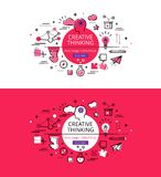 Kreatives Denken Flache Linie Farbheldbilder und Heldfahnen Stockfotos