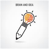 Kreatives Gehirn- und Bleistiftzeichen Lizenzfreies Stockbild