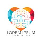 Kreatives Gehirnherzform-Logodesign Denken Sie Ideenkonzept lizenzfreie abbildung
