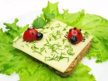 Kreatives Gemüsesandwich mit Käse Stockfotos