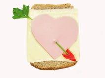 Kreatives Gemüsesandwich mit Käse und Schinken Stockfotos