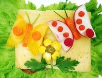 Kreatives Gemüsesandwich mit Wurst Käseamerikanischen nationalstandards Lizenzfreies Stockfoto
