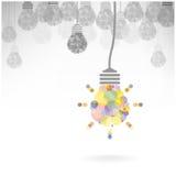 Kreatives Glühlampe Ideenkonzept-Hintergrunddesign Stockfotos