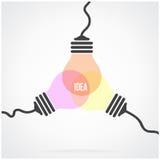 Kreatives Glühlampe Ideenkonzept-Hintergrunddesign vektor abbildung