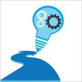 Kreatives Glühlampeerfolg Ideenkonzept-Hintergrunddesign Stockfoto
