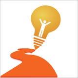 Kreatives Glühlampeerfolg Ideenkonzept-Hintergrunddesign Stockbilder