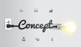 Kreatives Glühlampeideeninspiration concep des Vektors Lizenzfreie Stockfotografie