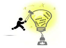 Kreatives Glühlampeideenkonzept Lizenzfreie Abbildung