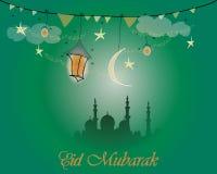 Kreatives Grußkartendesign für heiligen Monat des moslemischen Gemeinschaftsfestivals Eid Mubarak mit Mond und hängender Laterne Lizenzfreie Stockbilder