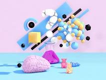 Kreatives Ideen-Konzept Gehirnstürmen Abbildung 3D Lizenzfreie Stockbilder