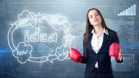 Kreatives Ideenkonzept, boxende Geschäftsfrau, die auf Kampfhaltung auf gemaltem Hintergrund nahe Organisationsdiagramm der Idee  Lizenzfreie Stockfotografie