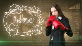 Kreatives Ideenkonzept, boxende Geschäftsfrau, die auf Kampfhaltung auf gemaltem Hintergrund nahe Organisationsdiagramm der Idee  Lizenzfreies Stockbild