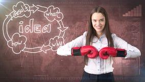Kreatives Ideenkonzept, boxende Geschäftsfrau, die auf Kampfhaltung auf gemaltem Hintergrund nahe Organisationsdiagramm der Idee  Lizenzfreies Stockfoto